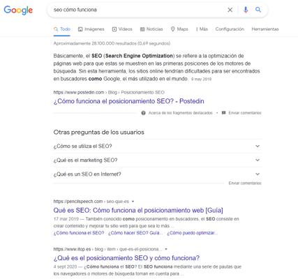 seo resultados de busqueda en google