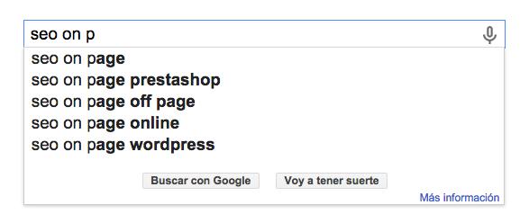 Ejemplo de Google suggest