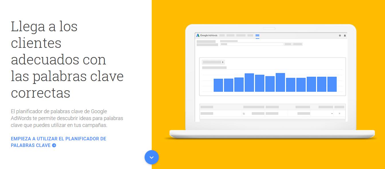 Ejemplo del keyword planer de Google