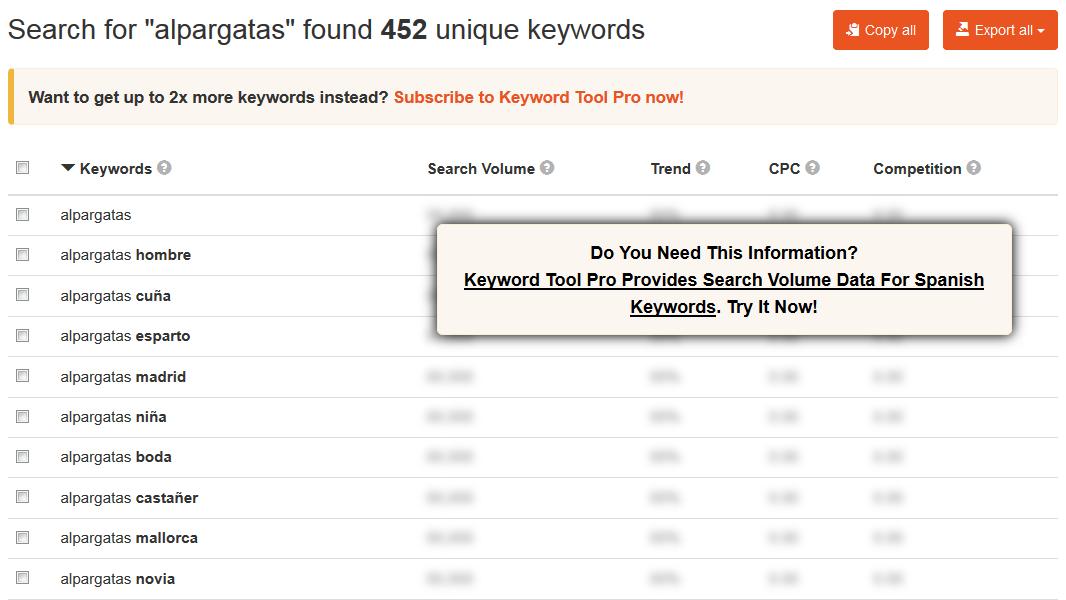 Ejemplo de la herramienta keywordtool.io