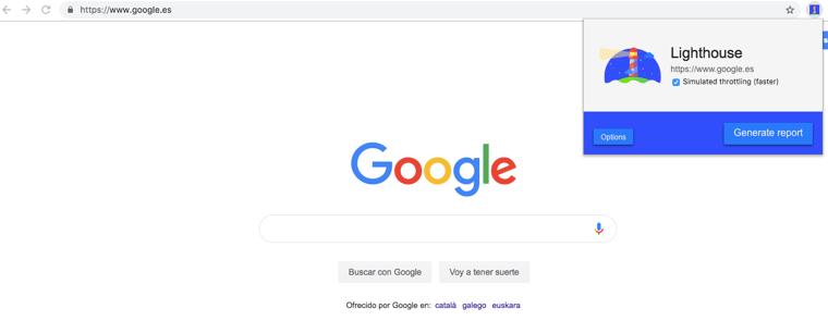 Google Chrome pagina principal