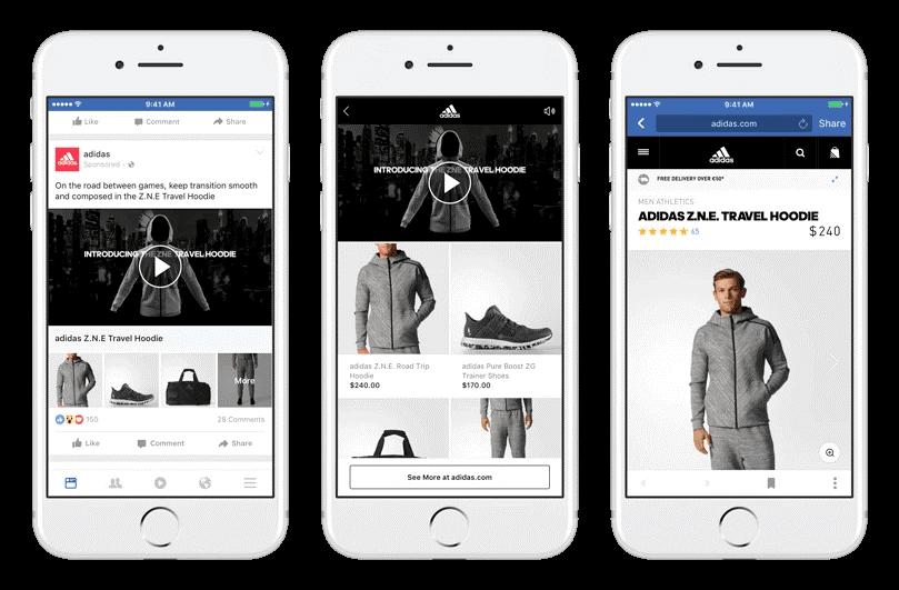 Anuncio de colección de facebook ejemplo Adidas