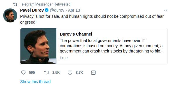 Pavel Durov twitter