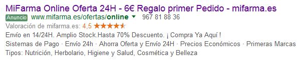 mifarma anuncio google