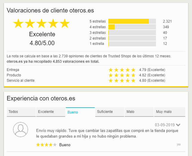 valoraciones de clientes trusted shops