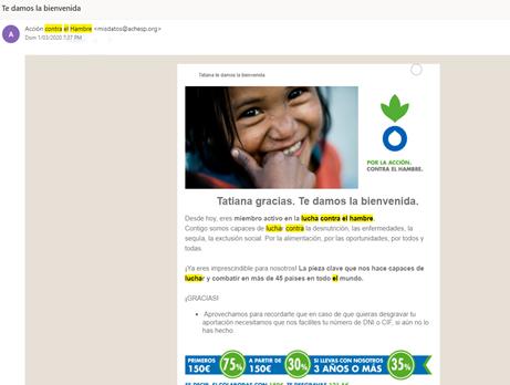 acción contra el hambre newsletter