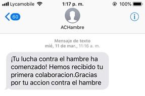 acción contra el hambre sms