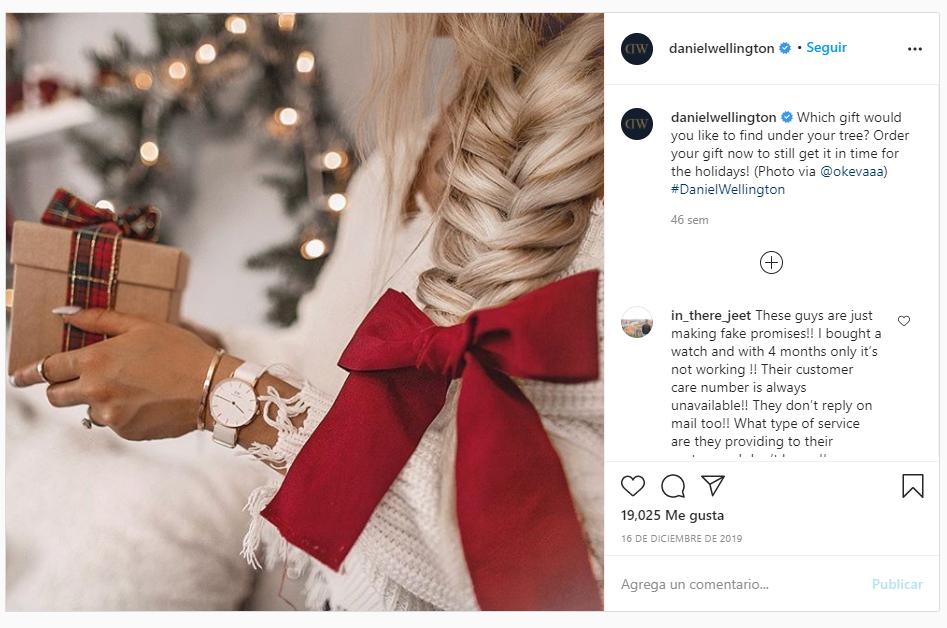 regalo navidad daniel wellington instagram