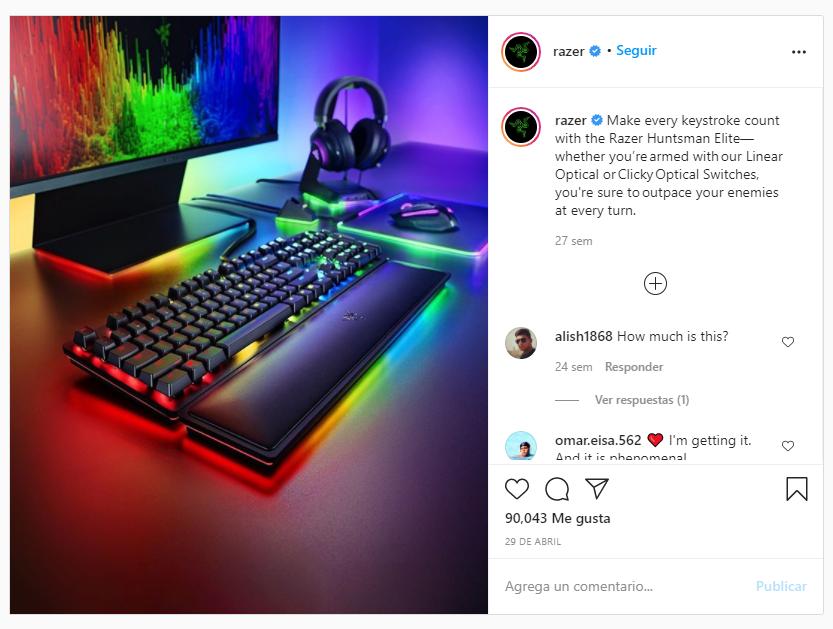 equipo de música razer instagram