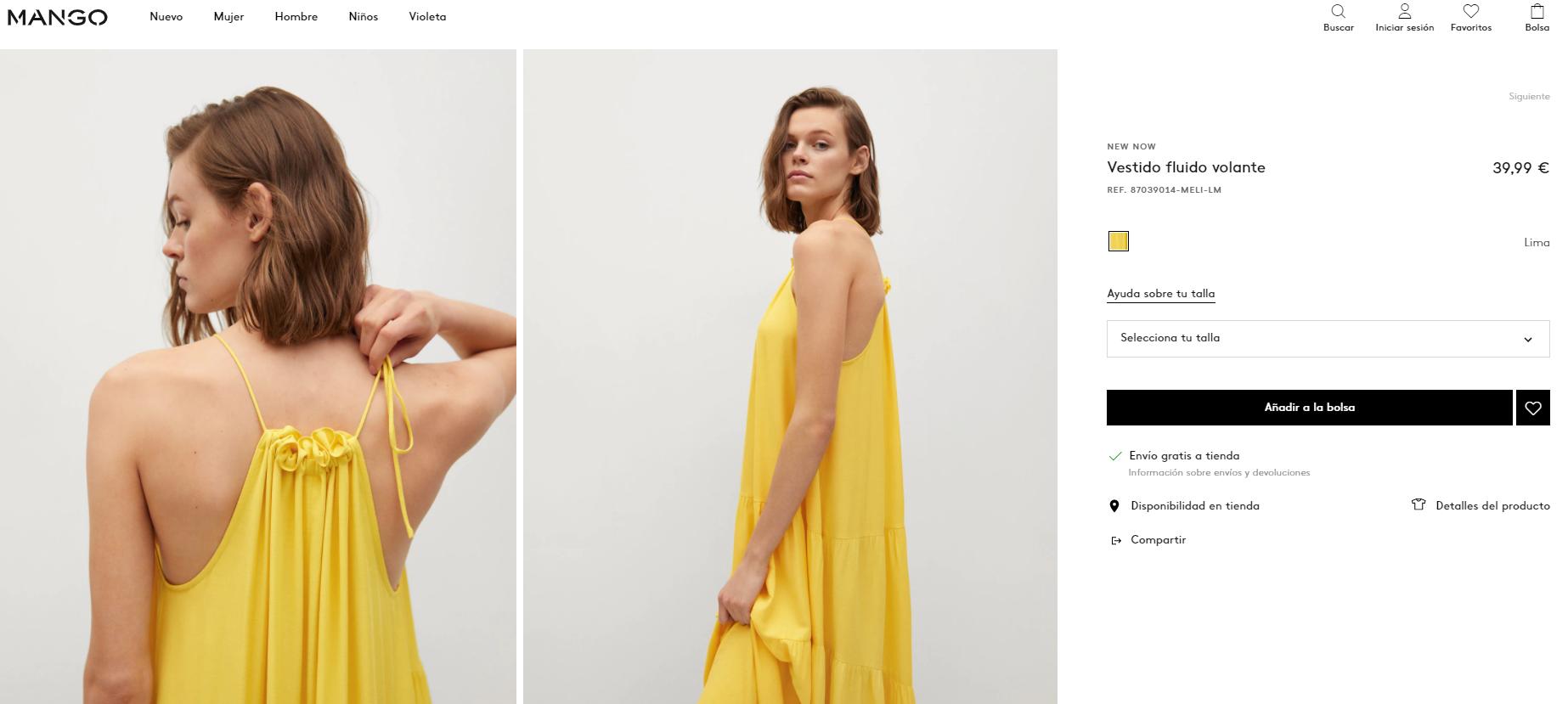 mango vestido amarillo mujer