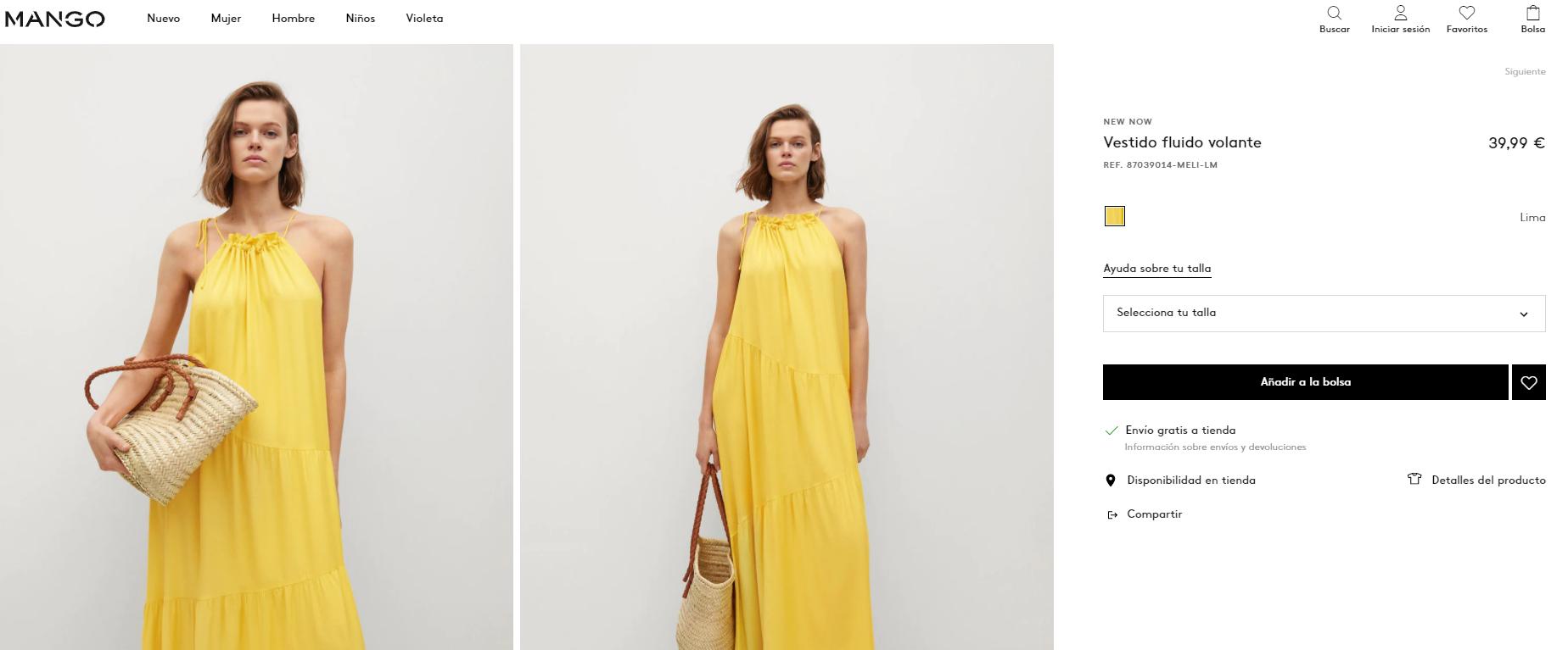mango vestido amarillo