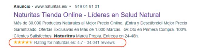 google ad naturitas extension calificacion vendedor