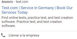 google ad test