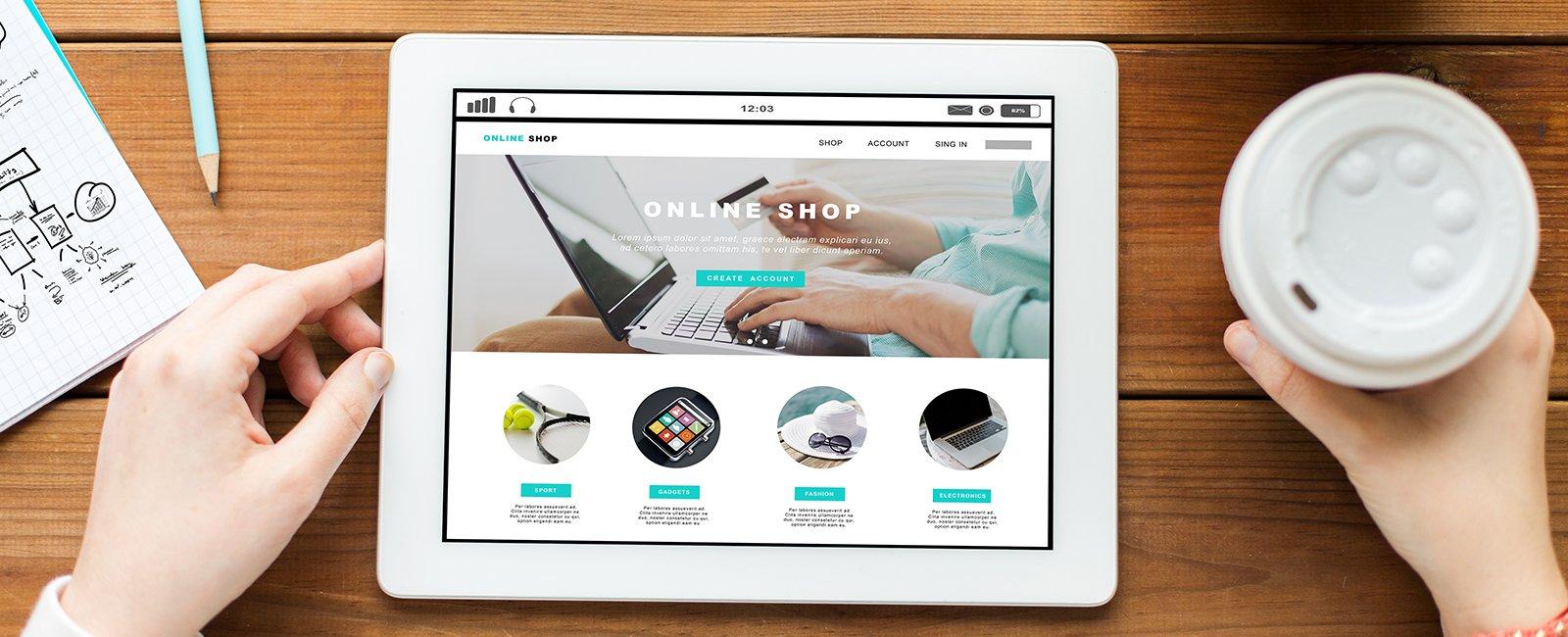tienda online en una tablet
