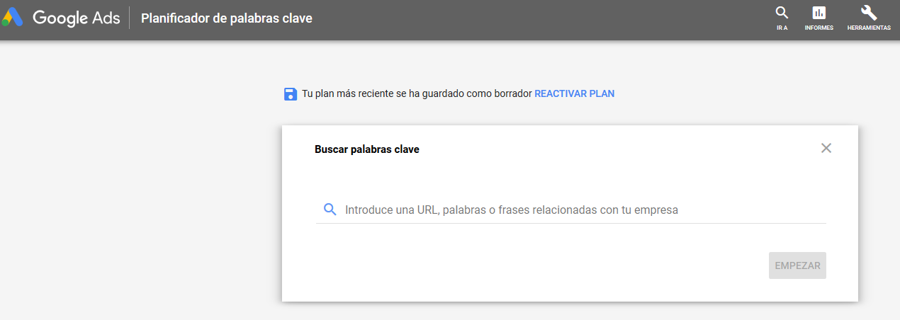 Planificador de palabras clave de Google Ads