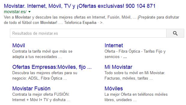 anuncio ampliado en Google Movistar